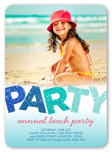Glitter Party Summer Invitation, Rounded Corners