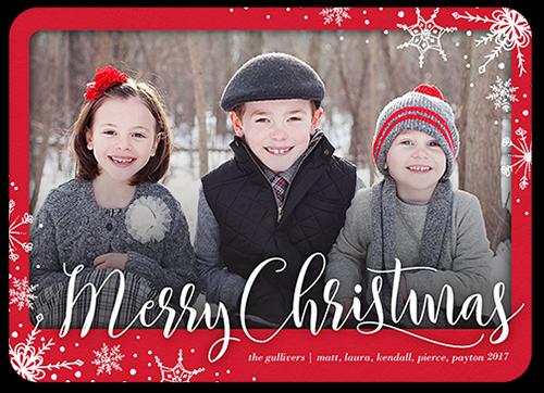 Elegant Flurries Christmas Card, Square