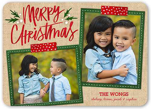 Merry Stitched Frames Christmas Card, Rounded Corners