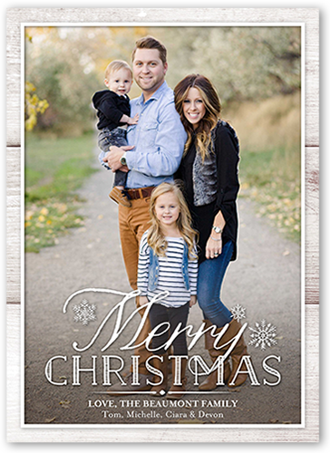 Rustic Woodgrain Frame Christmas Card