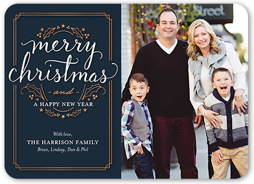 Bordered Greetings Christmas Card, Rounded Corners
