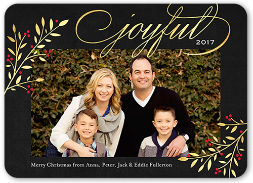 Elegant Joyful Foliage Christmas Card
