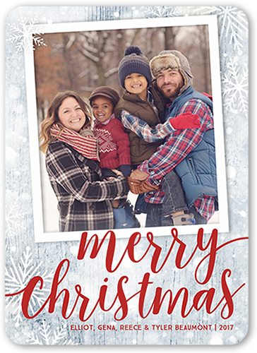 Snowy Merry Frame Christmas Card, Rounded Corners