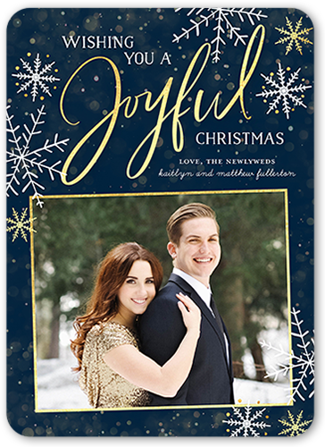 Joyful Framed Flurries Christmas Card, Rounded Corners