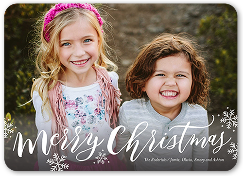Simply Scripted Merry Christmas Card, Rounded Corners