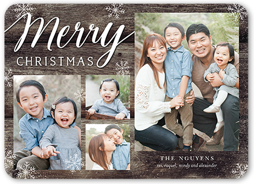 Merry Wood Flurries Christmas Card, Rounded Corners