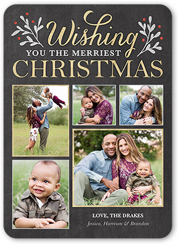 Wishing You Merry Berries Christmas Card, Rounded Corners