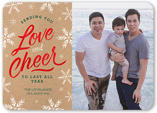 Love And Cheer Kraft Christmas Card, Rounded Corners