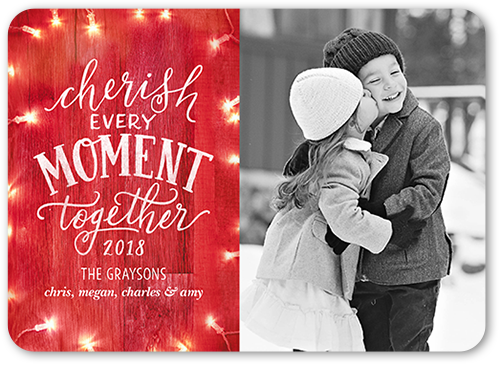 Wooden Cherish Moment Christmas Card, Square
