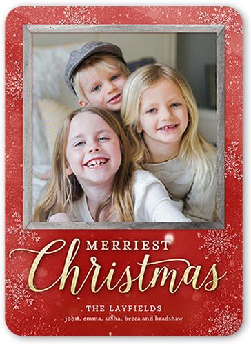 Rustic Merry Blessings Christmas Card, Rounded Corners