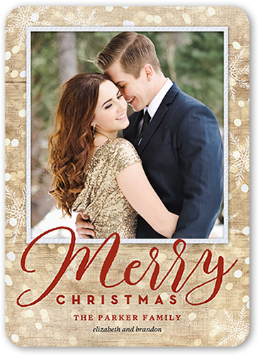 Woodgrain Bokeh Flurries Christmas Card, Rounded Corners