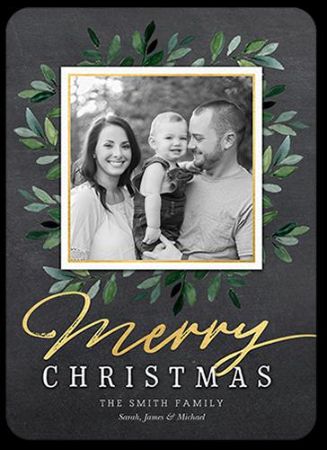 Graceful Foliage Frame Christmas Card, Rounded Corners