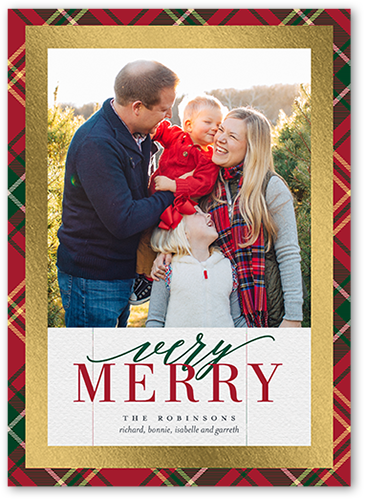 Gilded Plaid Frame Christmas Card, Square Corners