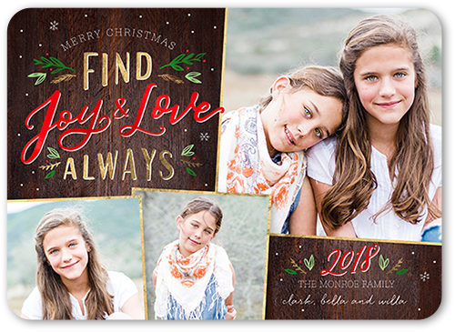 Find Joy And Love Christmas Card, Square