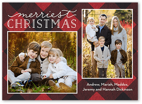 Bold Plaid Greeting Christmas Card