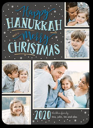Merry Flurries Hanukkah Card, Square