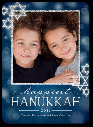 Bokeh Star Hanukkah Card, Square