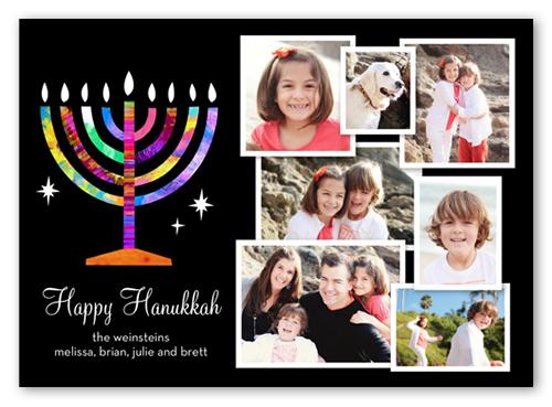 Rainbow Menorah Hanukkah Card, Square Corners