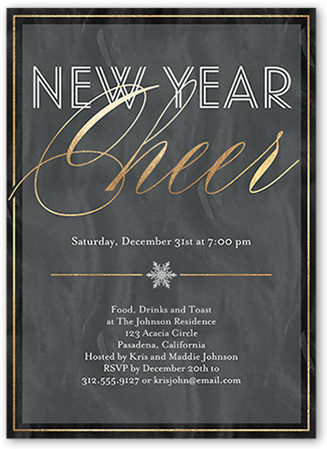 basic framed cheer new years invitation