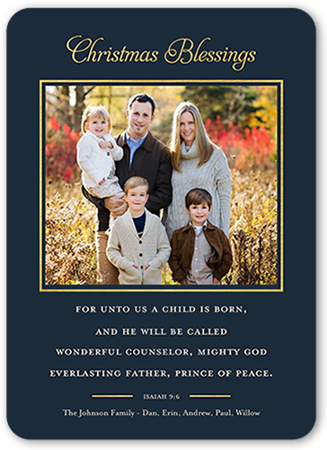 Wonderful Counselor Religious Christmas Card, Rounded Corners