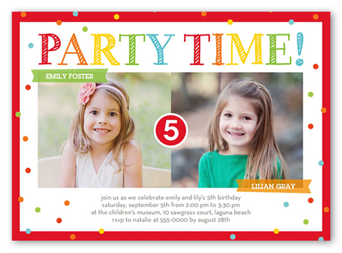 bright party time twin birthday invitation shutterfly