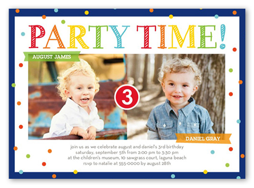 Birthday Invitations Bright Party Time Twin Blue