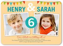 bunting abound twin birthday invitation 5x7 flat