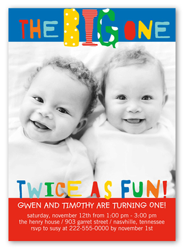 big bright one twin birthday party invitations shutterfly