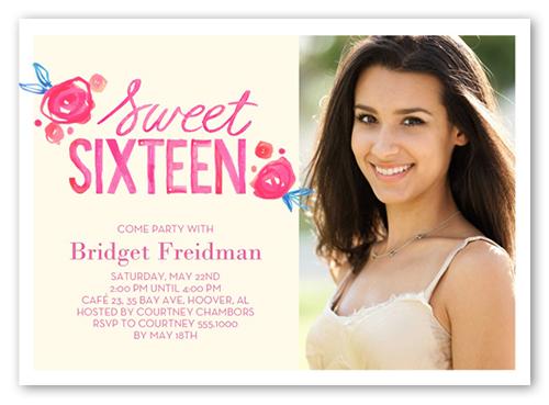 Watercolor Flower Sweet Sixteen