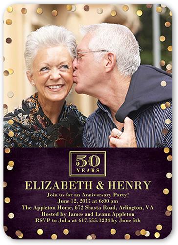 Golden Dot Years Wedding Anniversary Invitation, Rounded Corners