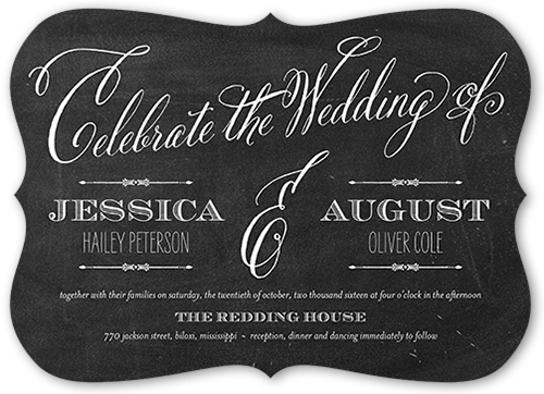 Chalked Union Wedding Invitation, Bracket Corners
