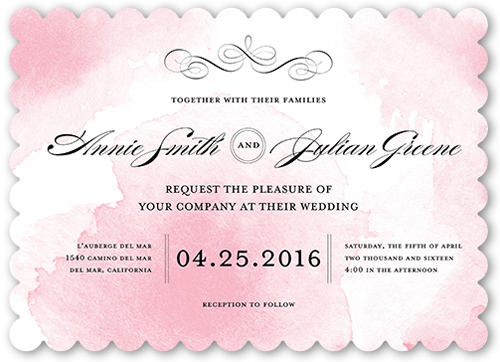Watercolor Elegance Wedding Invitation, Scallop Corners