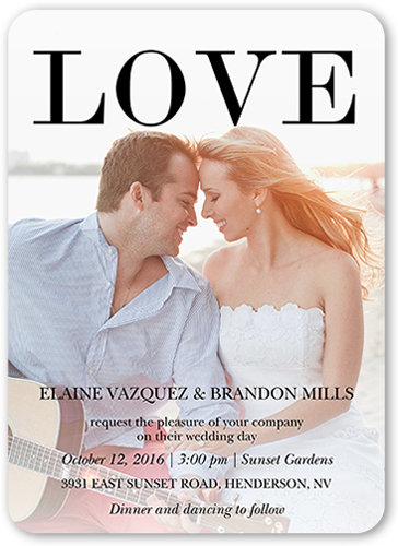 Love Out Loud Wedding Invitation, Rounded Corners