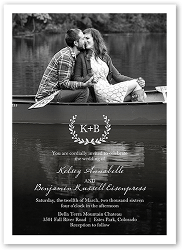 Refined Monogram Wedding Invitation, Square