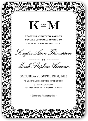 classic damask border wedding invitation - Damask Wedding Invitations