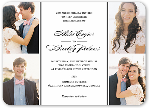 Captivating Elegance Wedding Invitation, Rounded Corners