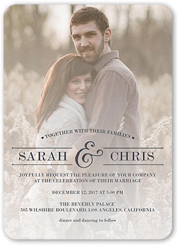 Romantic Wonder Wedding Invitation, Rounded Corners