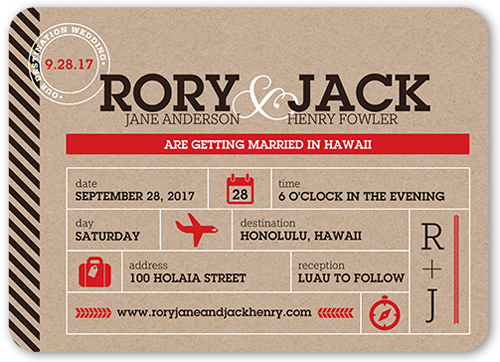 Destination Union Wedding Invitation, Rounded Corners