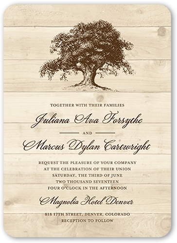 Rustic Statement Wedding Invitation, Rounded Corners