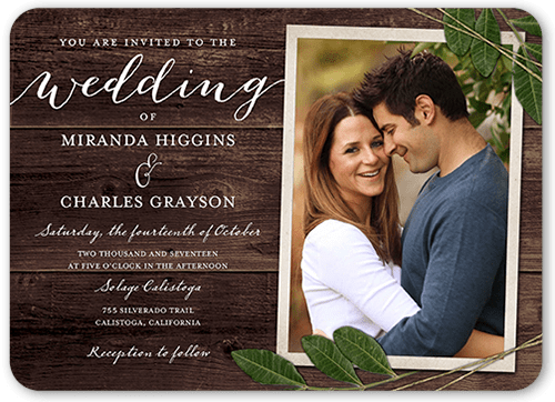 Photo Wedding Invitation: Ingrained Love 5x7 Wedding Invites