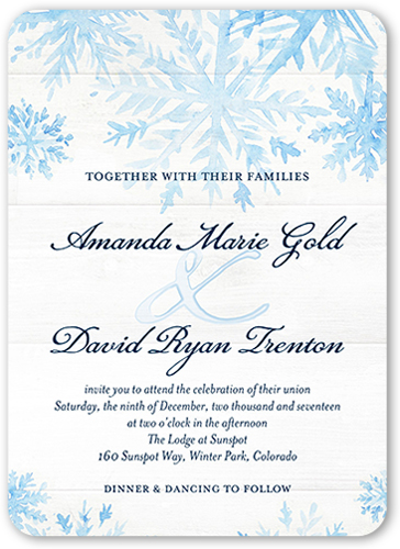 Snowy Union Wedding Invitation, Rounded Corners