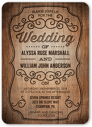 Rustic Romance Wedding Invitation, Rounded Corners