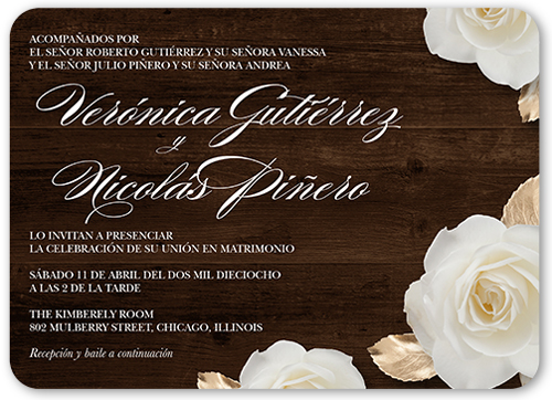Flores De Amor Wedding Invitation, Rounded Corners