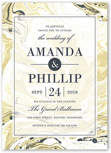 Marbled Elegance Wedding Invitation, Square Corners