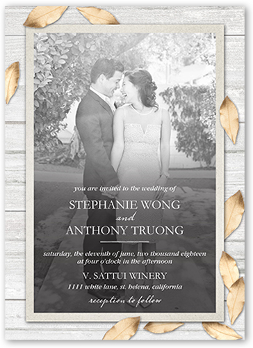 shimmering leaves wedding invitation
