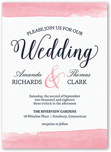 Classic Watercolor Border Wedding Invitation, Square