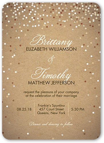 Shimmering Celebration Wedding Invitation, Rounded Corners