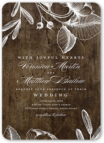Rustic And Floral Wedding Invitation, Rounded Corners