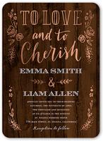 love and cherish wedding invitation 5x7 flat