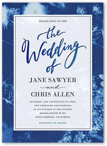 Royal blue wedding invitations shutterfly elegant sunprint wedding invitation filmwisefo